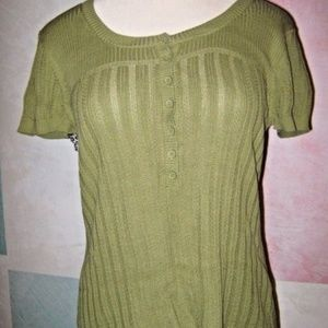 Olive Green Rib Button Chest Short Sleeve Sweater